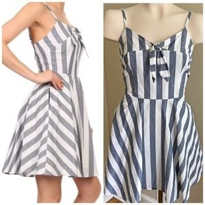 IXIA striped fit & flare pin up style pocket dress